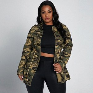 Long Sleeve Jacket S-5X Spring Clothes For Women Rivet Patch Plus Size Coat Drawing Slim Streetwear Camouflage Drop Women's Jackets