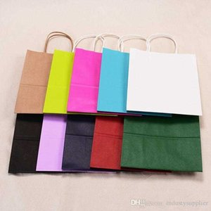 Packaging Paper Shopping Bags Kraft Multifunction High Quality soft color bag with handles Festival Gift 21x15x8cm ship fast A06 Q43F
