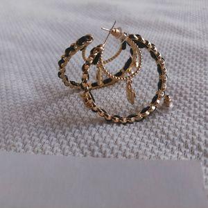 metal hoop earring accessories lock with leather fashion pearl c symbol retro designer earrings