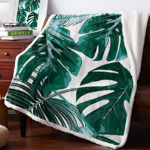 Blankets Green Tropical Jungle Plant Palm Leaves Lamb Flannel Blanket Warm Soft Cashmere Sherpa Throw On Sofa Bed Bedspread