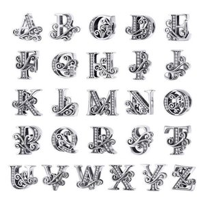 WOSTU 925 Sterling Silver 2019 A-Z 26 Letters Dazzling Beads Fit Original Charm Bracelet Pendant Bangle For Women Jewelry CTC030