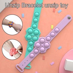 Push Bubble Bracelet Silicone Wristband Stress Relief Hand Fidget Toys Dimple Sensory Unzip Bracelet Decompression Vent