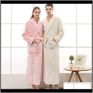 Diğer Tekstil Tekstil Ev Bahçe Bırak Teslimat 2021 Termal Lüks Flanel Banyo Robe Kadın Erkek Çiftler Güz Kış Izgara Peluş Bornoz Wa