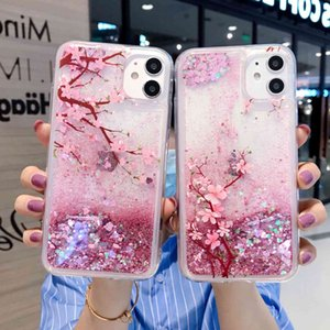 The new iPhone 12 peach blossom flash powder liquid is suitable for Apple 11 XR quicksand P30   P40 mobile phone case