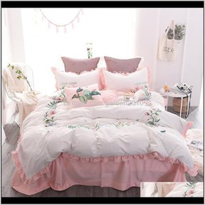 Sets 37 Embroidery Bedding Set 4Pcs Egyptian Cotton Duvet Cover Sheet Pillowcases Bedroom Textile Bed Linen Queen Girls1 Wwmss Cfs0N