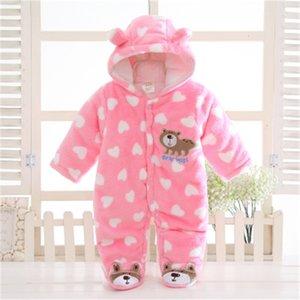 Recém-nascido outono / inverno bebê macacão bebê menina roupas com capuz romper flannel jumpsuit menino roupas