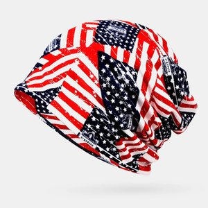 Scarves Women Cotton Stars Stripe Pattern America Flag Casual Personality Elastic Dual-use Neck Protection Beanie - Grey