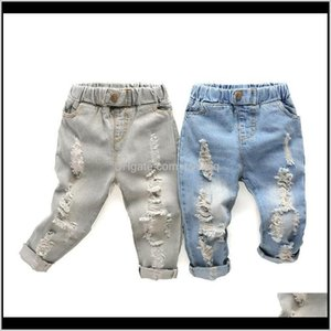 Kids Straight Leg Little Baby Boys Girl Fashion Western Denim Pants Ripped Holes Jeans Trousers 768 S2 5Ta2W Ld0Qr