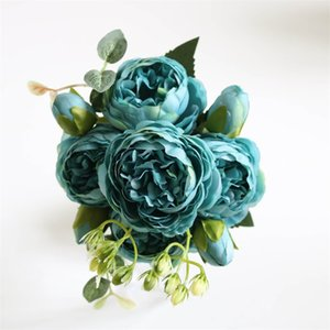 5 Heads Artificial Silk Rose Flower Bunch Plants Bouquet Fake Home Wedding Decoration Garden Floral Office Bedroom Party 610 S2