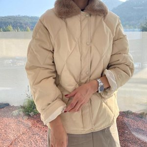 Hzirip 2020 Nuevo collar de piel sintética Cuello femenino chaqueta de invierno gruesas mujeres cálidas Parkas Vintage elegante elegante soltero pecho parka1