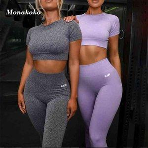Yaz Spor Seti Kadınlar Gri Mor Iki 2 Parça Kırpma Üst T-Shirt Yüksek Bel Tayt Sportsuit Egzersiz Kıyafet Spor Yoga Setleri T200617