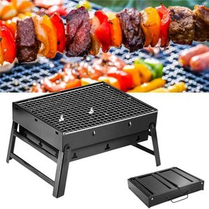 1PC Thicken Folding BBQ Grill Kitchen Bar Supplies Outdoor Portable Terrace Barbecue Camping Picnic Barbecue Accessories Tool 210724