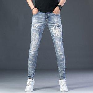 Лазерные напечатанные джинсы мужские бренды тонкий маленький ног повседневные брюки мода тонкий Summerm535