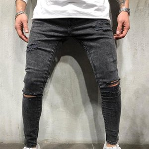 YUZIBAO Casual Men Ripped Skinny Jeans Stretch Destroyed Frayed Slim Fit Denim Pant With Hole Pencil Pants Trouser Clothing1