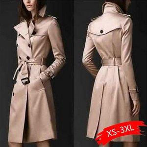 Women's Trench Coats 2021 Autumn Brand Women Coat Long Windbreaker Europe America Fashion Trend Double-Breasted Slim