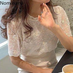 Nomikuma Elegant Lace Tops Women Stand Collar Short Sleeve Fashion t Shirts 3d Flower Temperament Tee Slightly Transparent 3a424