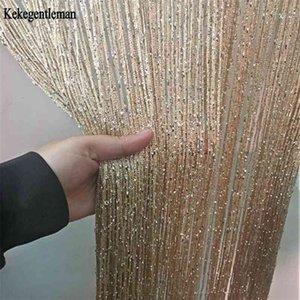 3x2.6m String Curtain Shiny Tassel Line Curtains Window Door Divider Drape Living Room Decor Valance 210913