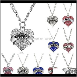 Necklaces & Pendants Drop Delivery 2021 Diamond Alloy Peach Mothers Day Year Gift Family Necklace Crystal Heart Pendant Rhinestone Womens Jew