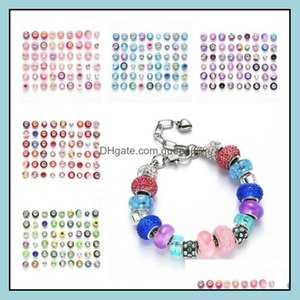 Acrylic, Plastic, Lucite Loose Jewelryloose 54Pcs   Lot Set Beads Handmade Materials Diy Aessories Charms Bracelet 8 Style T2I52291 Drop Del