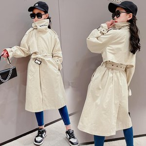 Coat Teenage Girls Trench With Sashes Outerwear Clothes England Style Fashion For Children 2021 Long Solid Jackets 5-14Years