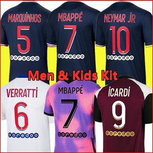 Tops Mbappe Kean Soccer Jersey 21 22 Maillots de Fútbol Camisas 2021 2022 Marquinhos Verratti Kimpembe Men + Niños