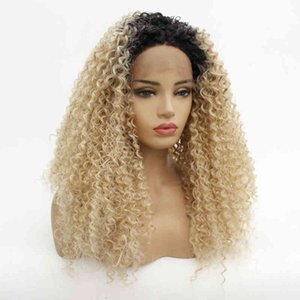 14-26 Inch #1B 613 Synthetic Lace Front Wigs Deep Curly Glueless Heat Resistant Synthetic Fiber Full Wig With Baby Hair Half Hand Tied