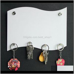 Novelty Items Décor Home Garden Drop Delivery 2021 Mdf Key Holder Hanging Board Sublimation Blank Hang Plates Flag Shape Boards Diy Bathroom