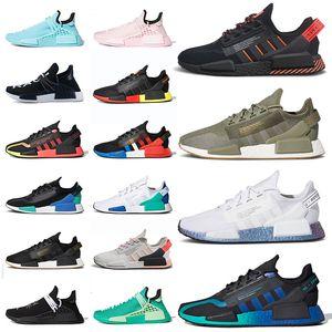Pharrell Williams x Adids Nmd Human Race Hu Trail R1 v2 Running Shoes Sports Sneakers Trainers Black Aqua Tones Dazzle Camo Japan White Outdoor Jogging Walking