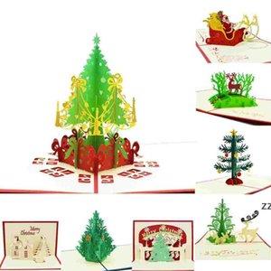 Christmas Greeting Cards 3d handmade pop up greeting cards 3D Handmade Xmas Gift Stationery Card Vintage Retro Pierced Post HWD10283