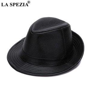 LA SPEZIA Black Fedoras Hats Men Genuine Retro Jazz Caps Gentleman Real Leather Luxury Spring Classic Felt Trilby Hat
