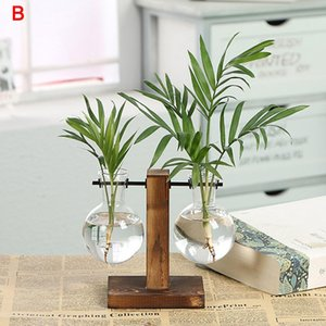 Vases 2021 Hydroponic Plant Vase Vintage Transparent Wooden Rack Decoration For Home Garden Wedding Drop EST