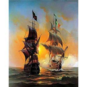 Verf Door Nummers Voor Volwassenen Beginner Kids, Nummer Schilderen-Zeilboot Piratenschip 40X50 Cm - Wall Art Gifts