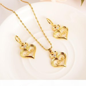 stamep L O V E heart Character Rhinestone Jewelry sets Pendant Necklaces Earrings 24 k Fine Gold GF CZ girls Europe women