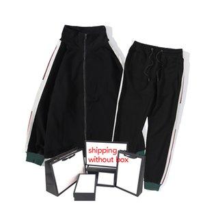Hombres Challes de moda Chaquetas de manga larga + Pantalones Dos Piezas Carta Casual Ropa Impresa Trajes Para Hombre Para Mujeres Conjuntos 2 Colores
