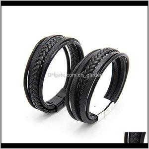 Party Favor Mens Leather Bangles Men Magnetic Clasp Cowhide Weaving Multi Layer Wrap Bracelet Fashion Charm Jewelry Christmas Gift Vt0 Gtnui