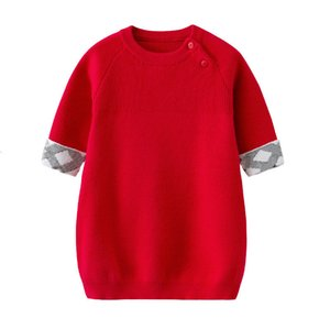 Girls 'Robes Little Noël Girls Girls Sweater Robes Robe Robe rouge à manches longues Filles Princesse de bébé Princesse