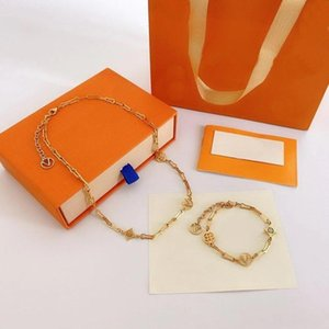 Luxury Brand Bracelet Europe America Fashion Jewelry Sets Lady Women Hollow Out V Initials Forever Young Necklace