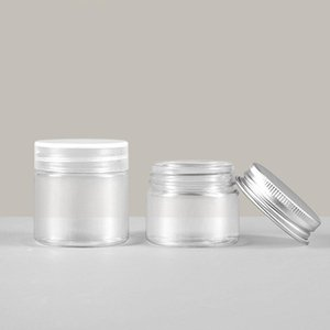 20ML 30ML PET Plastic Jars Round Clear Leak Proof Cosmetic Container Jars with Aluminum Lids for Travel Make Up Cream Lotion Nails Powder Gems Beads Jewelry