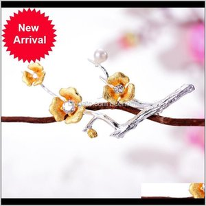 Charm Earrings Drop Delivery 2021 Lotus Fun Real 925 Sterling Sier Handmade Designer Fine Jewelry Delicated Plum Blossom Flower Brooches For
