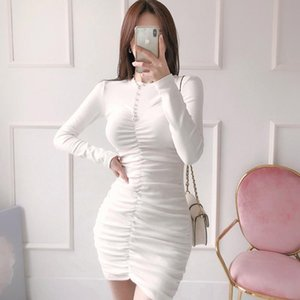 Korean Style Spring Women High Quality Solid Color O-Neck Long Sleeve Pleated Bodycon Knitted Bottoming Mini Dress Casual Dresses