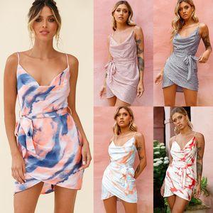 2021 새로운 여성 서스펜 드레스 여름 넥타이 염료 해변 드레스 섹시 슬림 허리 타이 인쇄 나이트 클럽 서스펜 드레스