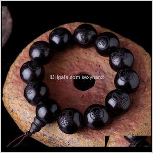 Charm Natural Ebony 15Mm 20Mm Beads Buddhist Prayer Bracelets Great Sculpture Buddha Bracelet Men Women Meditation Jewelry 76Rqt Vzd3V