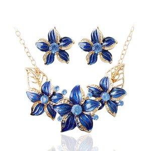 Statement Fashion Bride Big Crystal Flower Jewelry Set Beads Gold Necklace Earrings Women's Wedding &