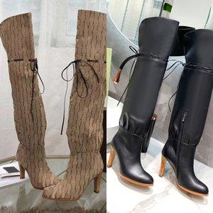 2021 العلامة التجارية الأحذية النسائية مصمم جلد طبيعي أحمر البيج قماش فوق الركبة التمهيد سستة الأربطة عارضة الأحذية الأزياء عالية الكعب المرأة الفاخرة أحذية رياضية كبيرة الحجم 35-42