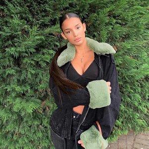 Drop Furry Black Vintage Jeans Jacket Women Casual Elegant Autumn Winter Denim Coat Ladies Chic Fashion Overcoat Female Women's Jackets