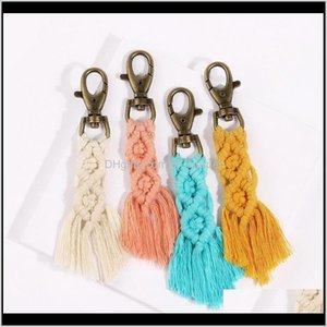 Storage Housekeeping Organization Home Garden Drop Delivery 2021 Tassel Keychains Boho Key Chains Rings Rame Holder Bag Charm Car Hanging Jew