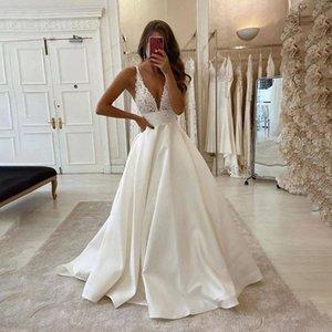 Spaghetti Lane кружевное свадебное платье свадебные платья с карманами V-образным вырезом Аппликаты подметают Треань без спинки Vestidos de Novia