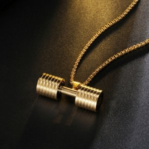 Gold Gym Sport dumbbell necklace Stainless steel bodybuilding pendant necklaces with chains for men fashion jewelry will and sandy