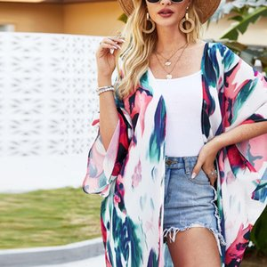 Women Shirt Womens Tops and Blouses Chiffon Print Kimono Loose Half Sleeve Shawl Cardigan Cover Up Clothes