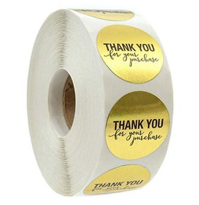 good quality 500pcs roll 1 inch gold round thank you adhesive label envelope seal baked papckage DIY sticker JF6A